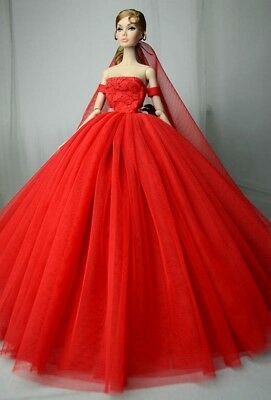 """Red Wedding Dress for 11.5"""" Doll Clothes 1/6 Evening Dresses Party Gown Outfits 2"""