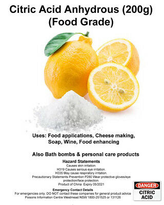 Citric Acid Food Grade Anhydrous 100g, 400g, 1Kg, Bath Bomb, Cheese Making, Soap 5