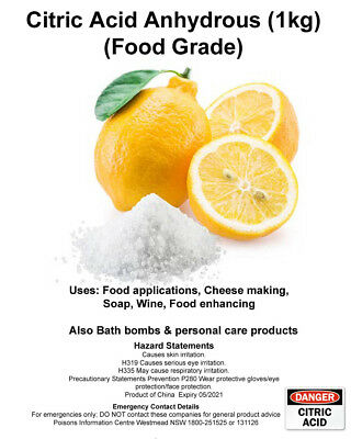 Citric Acid Food Grade Anhydrous 100g, 400g, 1Kg, Bath Bomb, Cheese Making, Soap 3