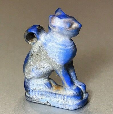 Ancient Egyptian Lapis Lazuli Pendant Of Goddess Bastet - Charming Piece! 9