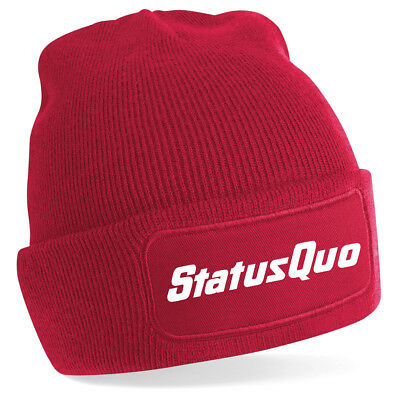 Status Quo Text logo Rossi Parfit Hello Piledriver Beechfield Beanie 7 col NF