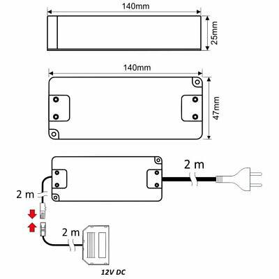 12V MINI-AMP LED Trafo Netzteil 16W 6-fach-Verteiler Schalter EURO-Stecker weiß