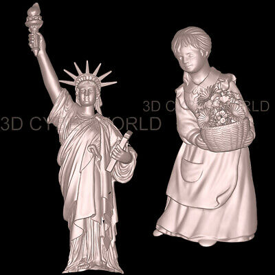 21 Pieces 3D STL Models (WOMAN/SKULL/FACE/LIBERTY) for CNC Artcam Aspire Printer 10