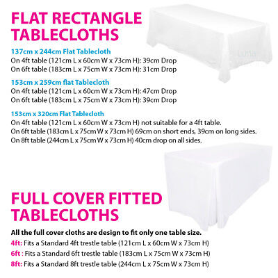 Tablecloths Wedding Table Cloths Trestle Rectangle Market Event Fitted White 2
