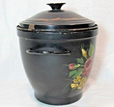 Antique Vintage Toleware Metal Ice Bucket Insulated Tole Paint Pilgrim Bullocks