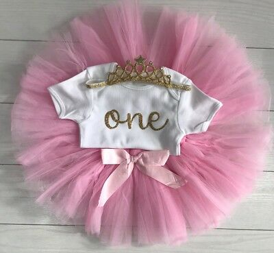 Luxury Girls 1st First Birthday Outfit Tutu Skirt Cake Smash Set Blush Tiara 4