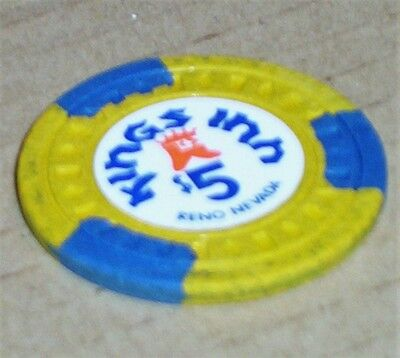 Old $5 KINGS INN Casino Poker Chip Vintage Antique Diamond Square Mold Reno NV 3