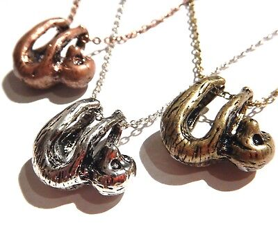 BRASS SILVER or COPPER BABY SLOTH NECKLACE hanging animal charm pendant cute 3G 3