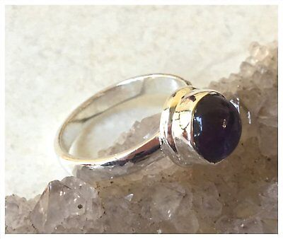 925 Sterling Silver AMETHYST Semi Precious GEMSTONE RING SIZE P  - US 7 3/4
