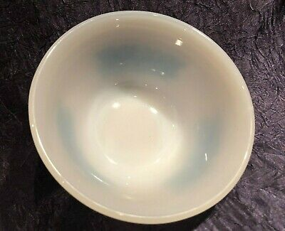 Vintage Federal Glass; 5-IN Blue-FLORAL Dual-Band NESTING Mixing-Bowl 12