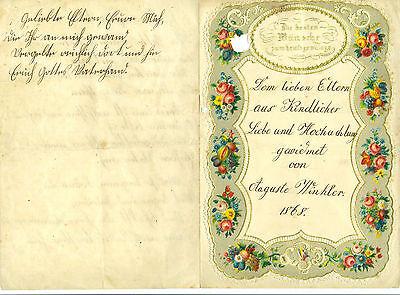 Schöner Schmuckbrief Kinderbrief 1868 Auguste Winkler Kurrentschrift