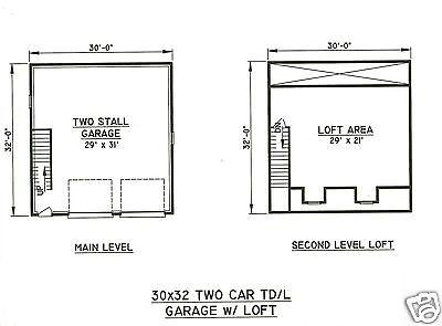 30x32 2 car td ld garage building plans 700 sf walk up for Two car garage plans with bonus room