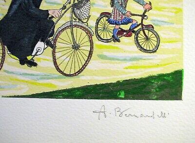 """ANGIOLA BERNARDELLI - """"Suore in bici""""  - Serigrafia cm 40x30 3"""