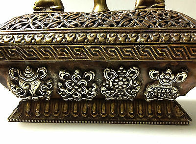 Antique Tibetan Art Box + Lid Metal Symbol Medalion Traditional RARE Collectable 4