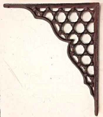 SET OF 2 LARGE HONEYCOMB LATTICE SHELF BRACKET BRACE Rustic Antique Brown Iron 2