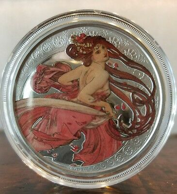 Alphonse Mucha 6 0z .999 silver coins collection colorized Art series set Rare. 12