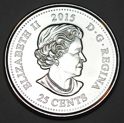 Canada 2015 25 cents Coloured Poppy UNC from roll - BU Canadian Quarter 3