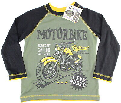 ST EVE Boys PYJAMAS Long Sleeve Top Fleece Bottoms GREEN BLACK Motorbike 5-6 Yrs 3