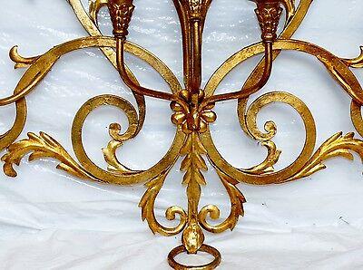 Antique Italian Tole Gold Gild Gilt Fleur de Lis 6 Wall Sconce Candelabra 43x29 4