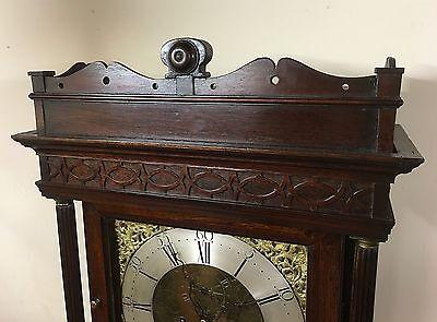 ~ Antique Brass 8 Day Oak & Mahogany Longcase Grandfather Clock WALKER NANTWICH 4