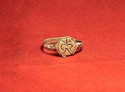 Medieval Knight's Silver Seal Ring - Lily Seal, 12. Century, Silver Inlay, Rare 4