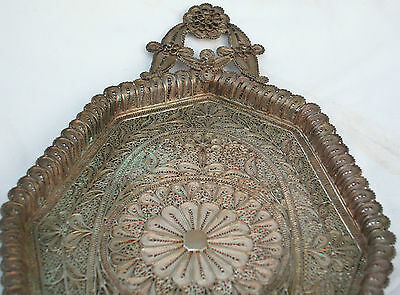 A Fine Solid Silver Antique Middle Eastern Hand Made Filigree Master Piece Tray 3