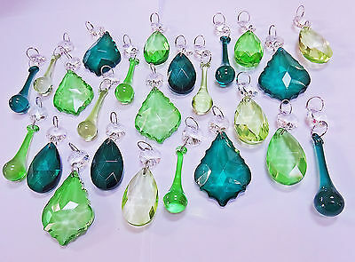 24 3 Tone Green Crystals Cut Glass Parts Drops Vintage Wedding Droplets Beads