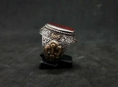Old Yemani Agate Stone Solid Silver And Gold Plated Unique Ring #H76 2
