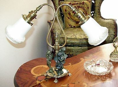 Vtg Deco Era 3 Cherubs Boudoir Table Lamp Glass Shade Chandelier Fixture Old 8