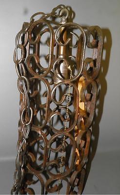 Antique Spanish Revival Wrought Iron Scrolled Chandelier Pendant Light Fixture 3