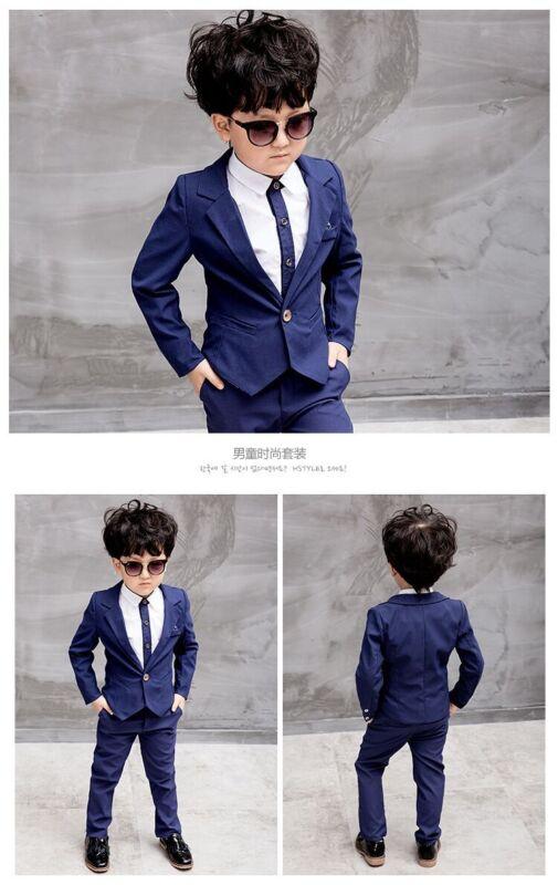f3e265c8162d8 2pcs Kids Baby Boys Formal Suit For Wedding Jackets Concert Suit Coat+Pants  Sets 9 9 of 12 See More