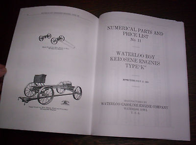 "Waterloo Boy Type ""K"" Hit & Miss Gas Engine Repairs & Price List #11 120 Pages ! 3"
