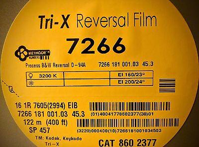 KODAK 16MM TRI-X B&W Reversal Movie Film 7266 400' 160T/200D *NEW FACTORY  FRESH*