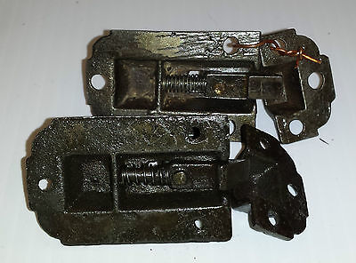 Pair of CAST IRON VICTORIAN STYLE CABINET LATCHES with catches  (#33)