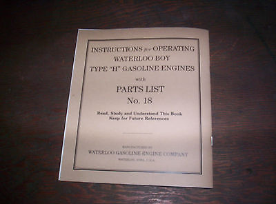 Waterloo Boy H Hit & Miss Gas Engine Manual Instruction Operating Parts List 18 10