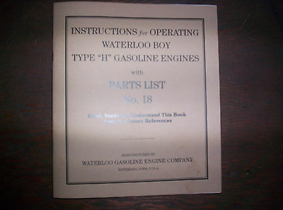 Waterloo Boy H Hit & Miss Gas Engine Manual Instruction Operating Parts List 18 2