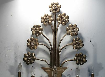 Antique Vintage Sconce Large 5 Light Ornate Light Floral Unique 2