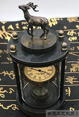Asian collection of old handmade copper carved deer mechanical watch 5