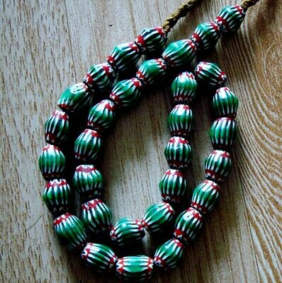 "20"" 32 Bead Antique Phoenician Green, White,Red Six Layer Chevron Glass Necklace 8"