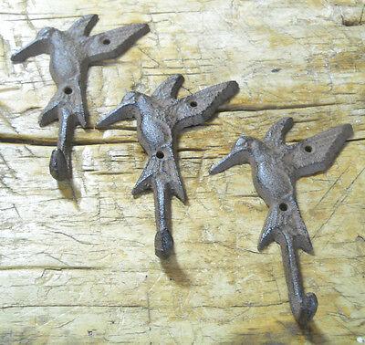3 Cast Iron HUMMINGBIRD Towel Hanger Coat  Hat Hooks, Key Rack GARDEN Hook BIRD 4