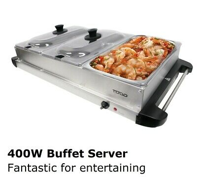 Buffet Food Warmer Electric Server 3 Tray Large Bain Marie Stainless Steel New 2