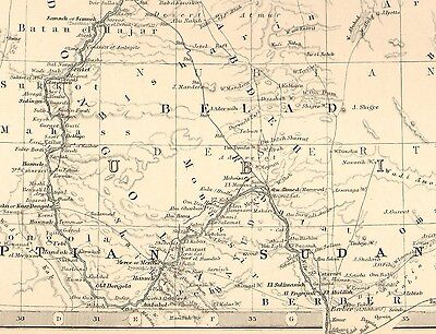 1911 Large Victorian Map ~ Egypt Arabia Petraea & Lower Nubia Cairo Nile 4