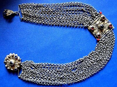 OTTOMAN SILVER Adornment KYUSTEK or PENDANT & STONE , Hand crafted chains 3