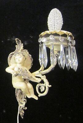 2 Antique French Cherub Spelter lamp Vintage Shabby sconce chic Paris Architectu 10