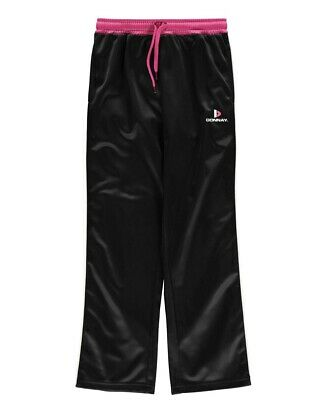 Girls Donnay Childrens Tracksuit Top Bottoms Black Pink Retro Age 9/10 Years New 2