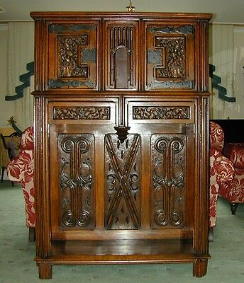 An Antique Gothic cabinet with outstanding carving 2