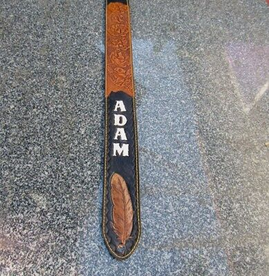 Custom Padded Leather Guitar Strap Personalized With Your Name. 4