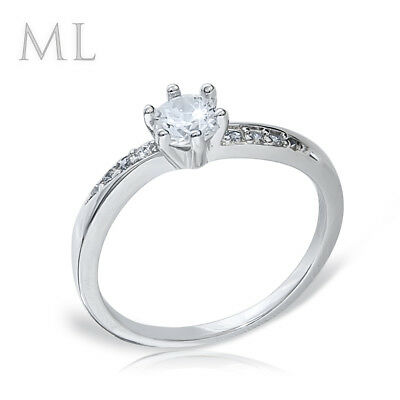 Womens Delicate 3/4 CT Promise Engagement RING For Her Silver Plated SIZE 4-10 6