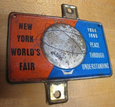 1964-65 New York World's Fair Unisphere License Plate Topper Bike Auto Sign NYWF 6