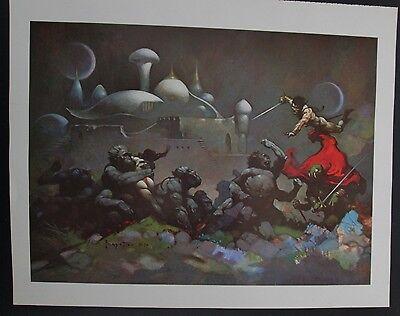 Vintage Art Frank Frazetta 1973 GGA Fighting Men Mars Ugor Damsel Distress Apes